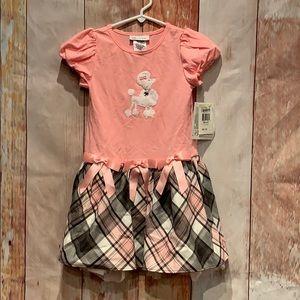 NWT 4T Bonnie Jean short sleeve poodle plaid dress